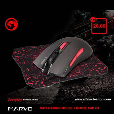 MARVO M417 USB 7D WIRED GAMING MOUSE + MOUSE PAD G1