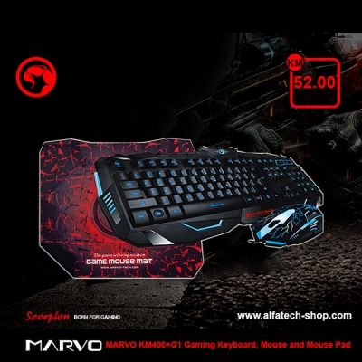MARVO KM400+G1 Gaming Keyboard, Mouse and Mouse Pad