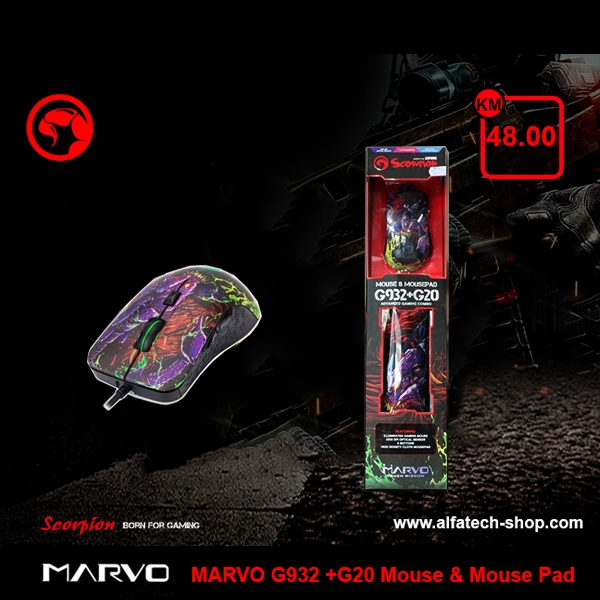 MARVO G932 +G20 Mouse & Mouse Pad